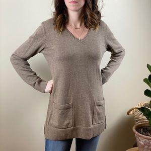 Jeanne Pierre V-Neck Brown Knit Sweater w/ Pockets